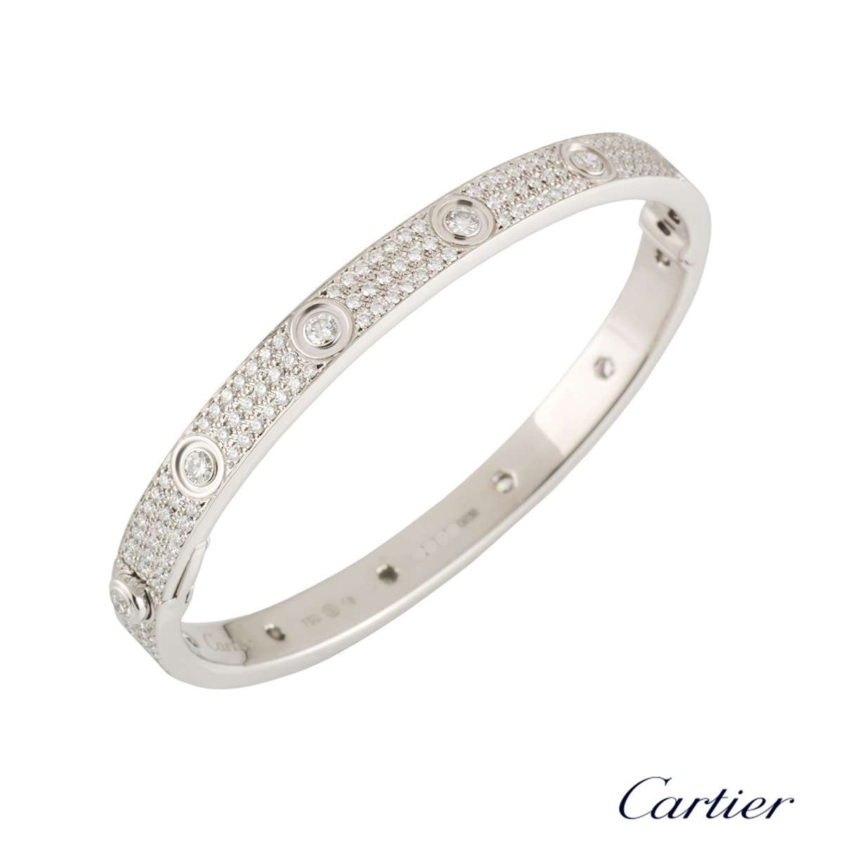 Cartier White Gold Pave Diamond Love Bracelet Size 18 N6033603